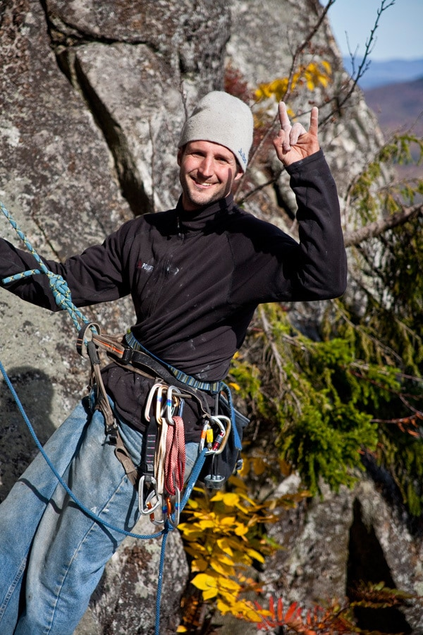 Bayard, psyched, after doing the fist ascent of the Acid Wall, 5.12d, Laughing Lion, Evan's Notch.