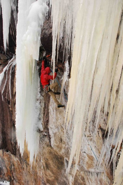 Bayard approaching the ice on the first pitch of the Painted Wall Icicle.. Kevin Mahoney photo.