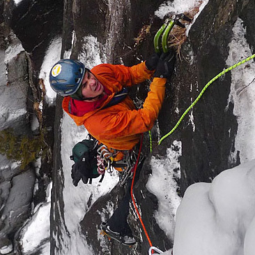 Matt on the forst pitch of he and Bayard's route on Wilmington Notch in the Adirondacks - Bossman.