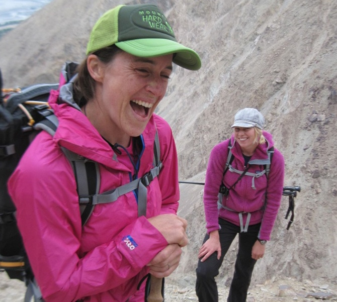Janet and Emily Drinkwater on the hike into the Siachen Glacier, India.